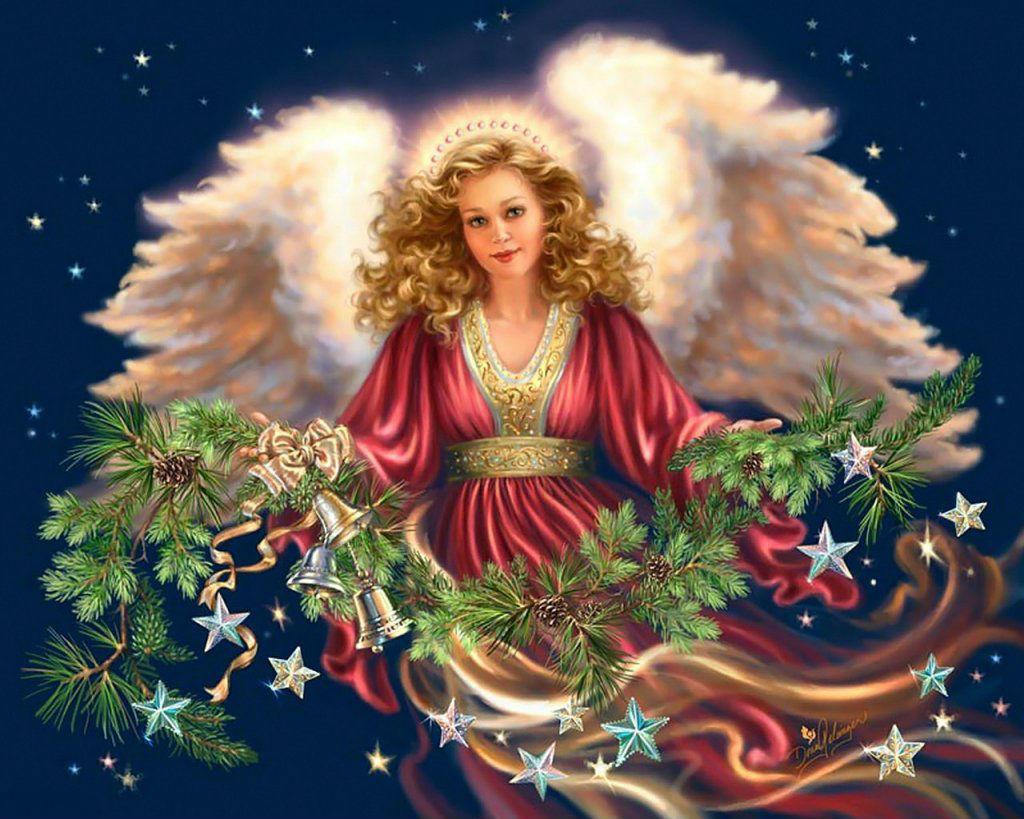 Картинки, открытка с рождественскими ангелочками